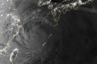 Typhoon Neoguri in Moonlight