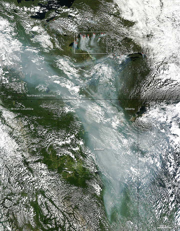 Smoke from Canada Moves South