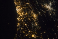 Eastern Mediterranean Coastline at Night