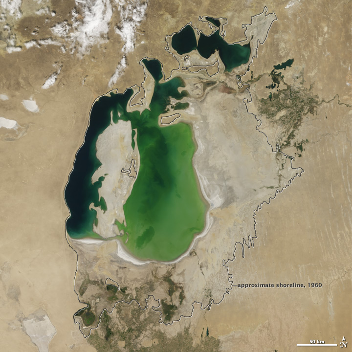 The Aral Sea Loses Its Eastern Lobe