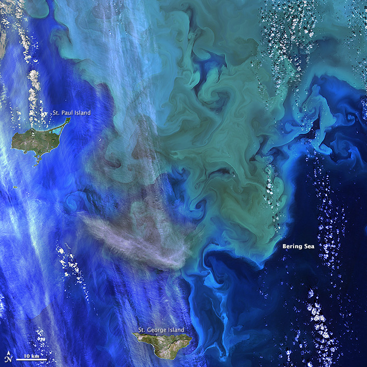 Coloring the Sea around the Pribilof Islands