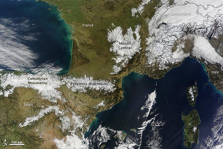Snow Blankets Ranges in Southwestern Europe