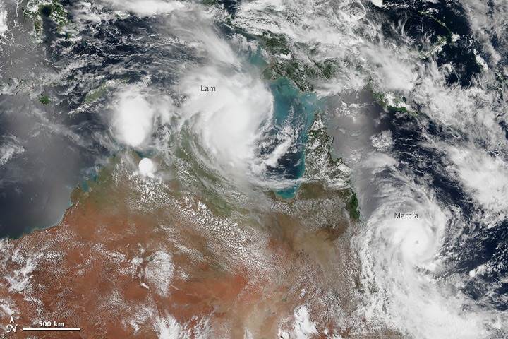 Cyclones Lam and Marcia