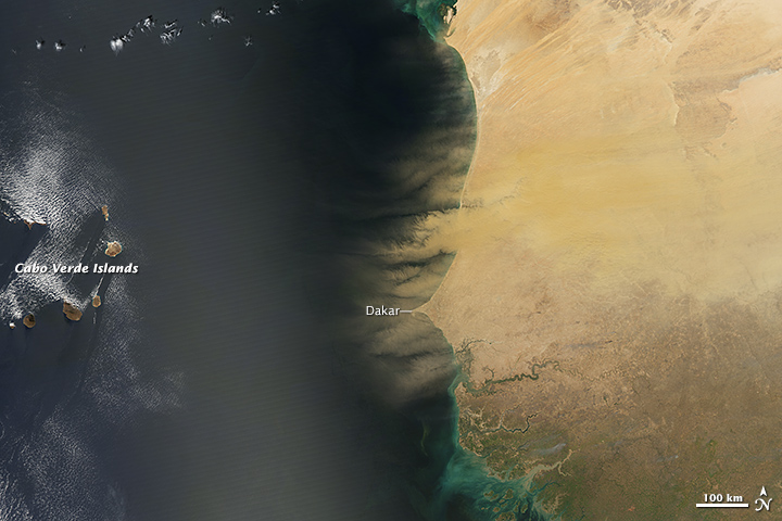 Thick Dust Plumes Obscure Africa's Coast