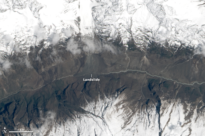 Landslide in Langtang Valley