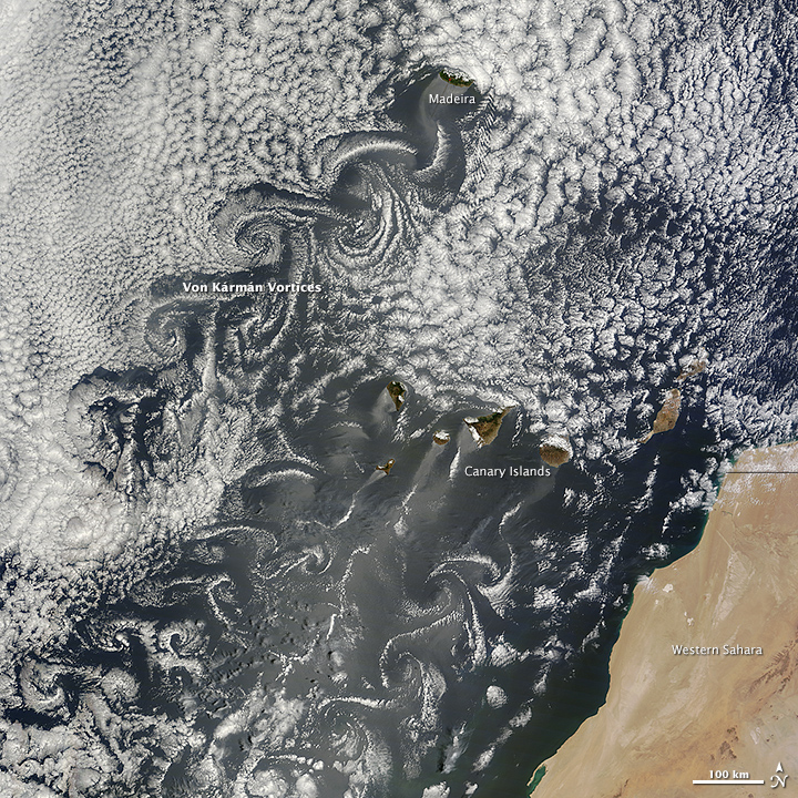Canary Islands Kick Up Von Kármán Vortices