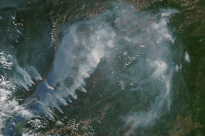 Fire and Smoke Around Lake Baikal