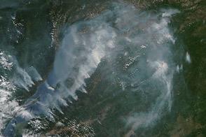 Fire and Smoke Around Lake Baikal