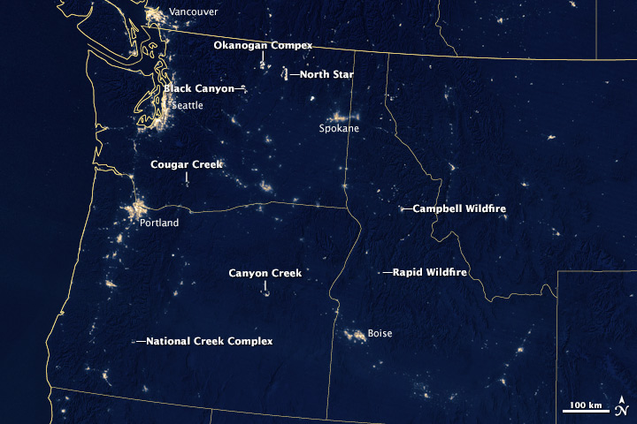 Fires At Night In The US Northwest Natural Hazards - Us at night map