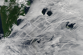 Ship Tracks off the Kamchatka Peninsula