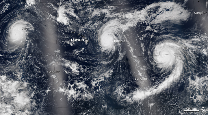 Trio of Hurricanes Over the Pacific Ocean