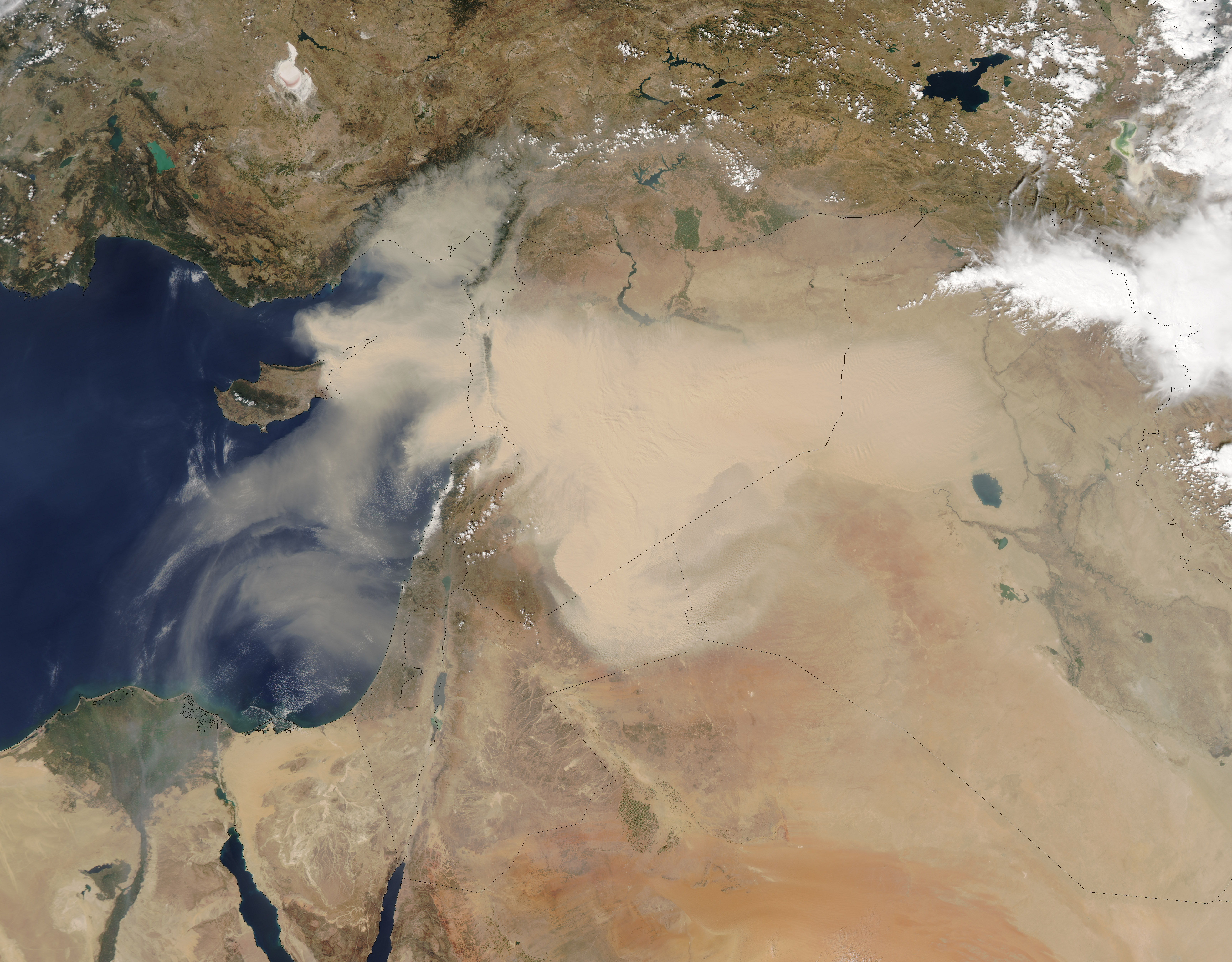 Dust Storm Sweeps Across Middle East Natural Hazards - Middle east satellite map