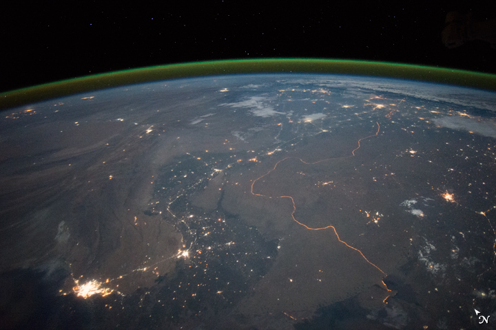 India-Pakistan Border at Night
