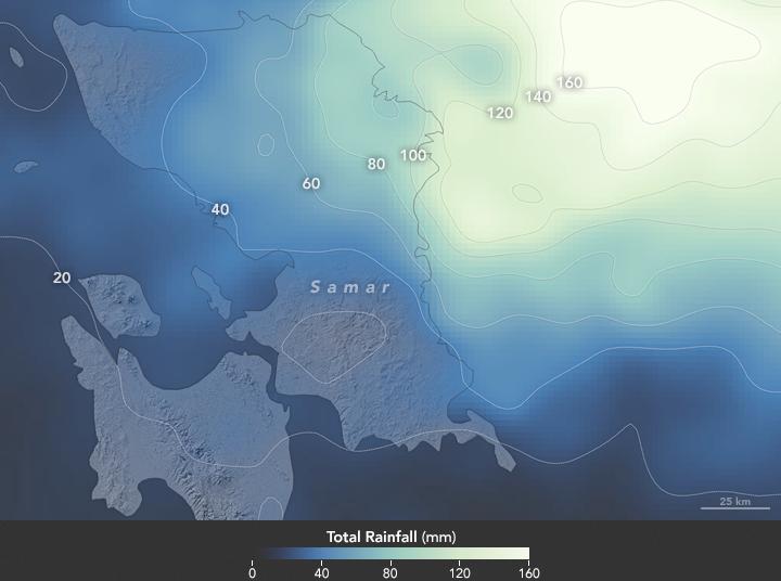 Data curah hujan saat topan Melor terjadi di Filipina