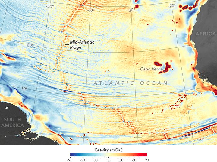 Seafloor Features Are Revealed by the Gravity Field