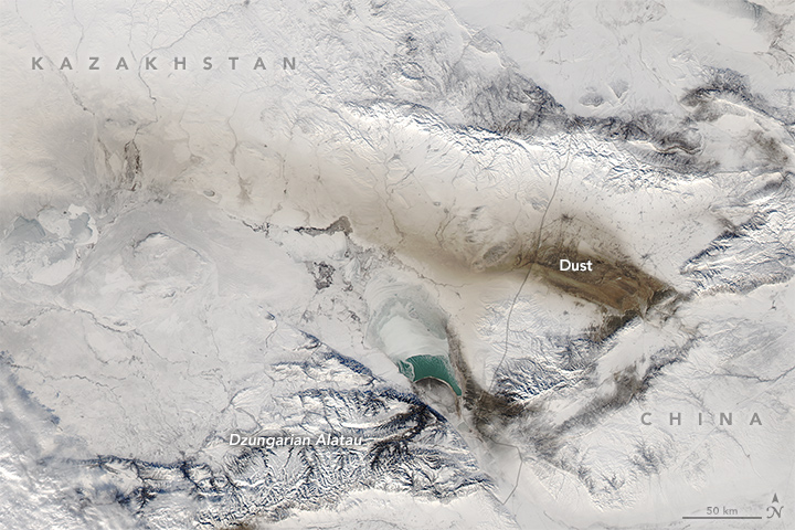 Dusty Snow in Central Asia