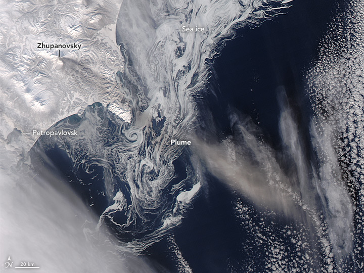 Ash Plume and Sea Ice Near Zhupanovsky
