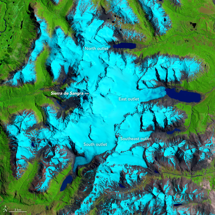 Retreat of the Sierra de Sangra Glaciers