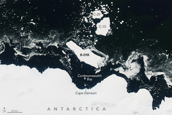 Antarctic Berg Shifts, Sea Ice Responds