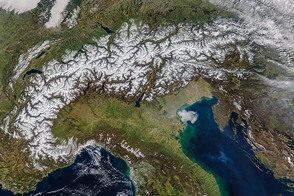 Spring Snow Cover in The Alps