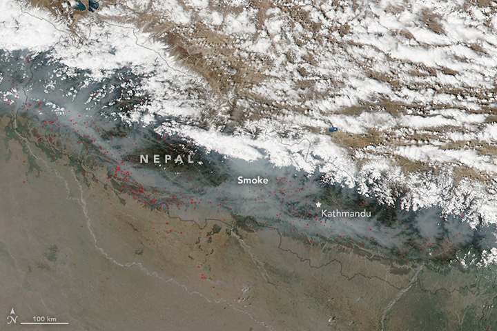 Fires and Smoke in Nepal