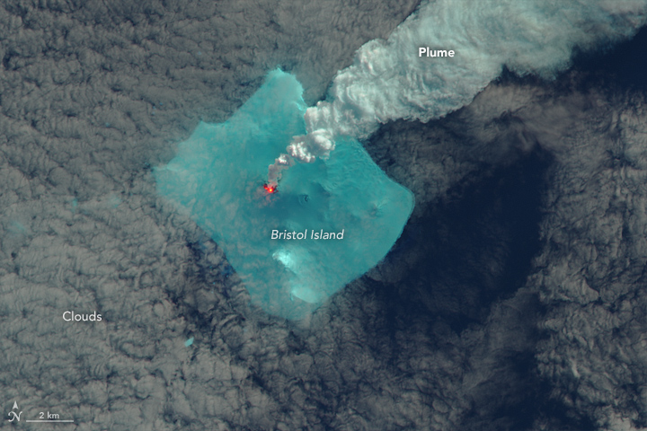 Landsat Image Gallery - Signs of an Eruption on Bristol Island