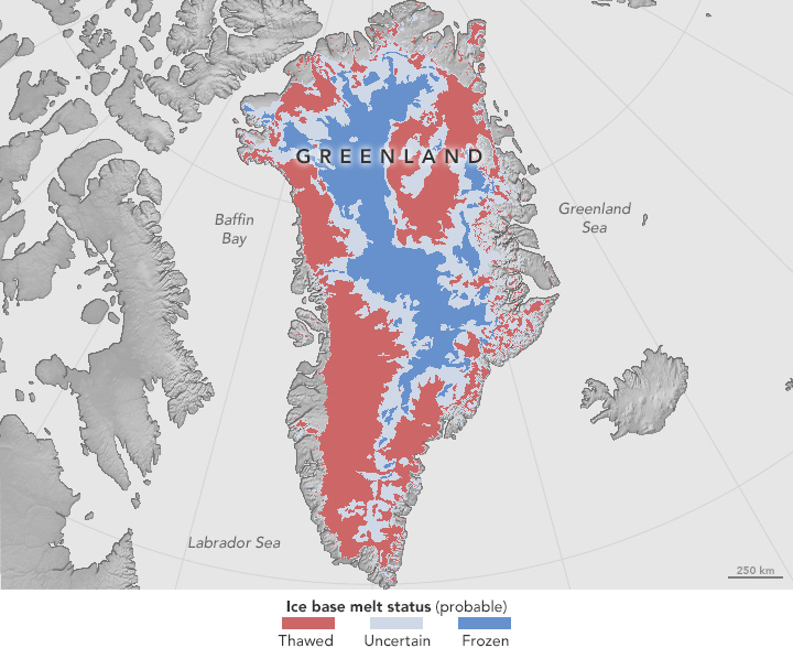 Melt at the Base of the Greenland Ice Sheet