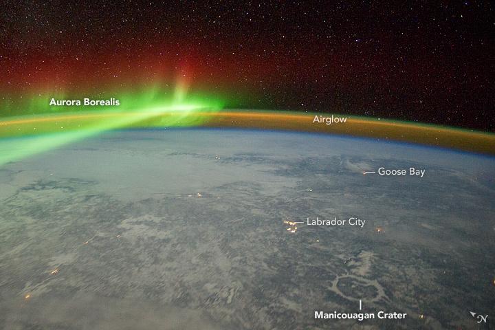 Aurora and Manicouagan Crater