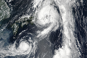 Typhoon Mindulle over Japan