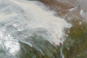Smoke and Fires in Central Russia