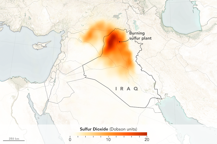 Sulfur Dioxide Spreads Over Iraq