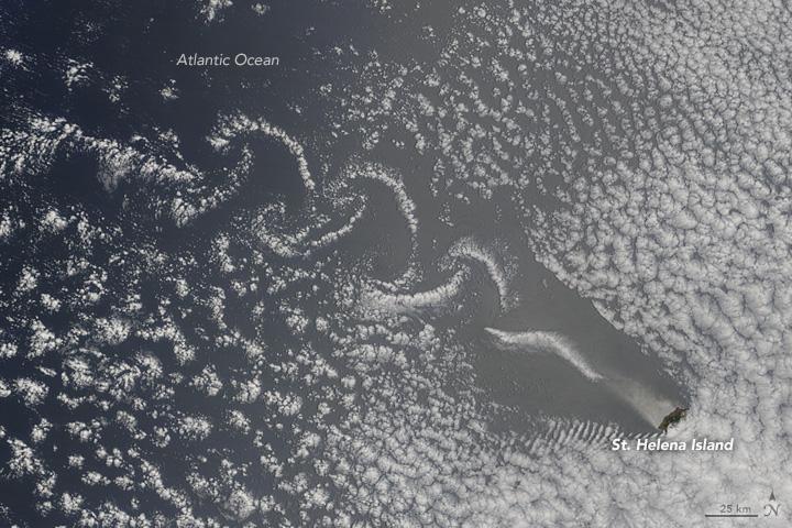 Cloud Wakes on the Lee Side of St. Helena Island