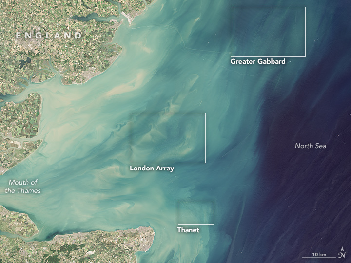 Offshore Wind Farms Make Wakes