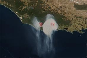 Round Smoke Plume Rises Above Australian Coast