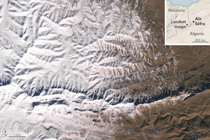 Rare Snow In The African Desert
