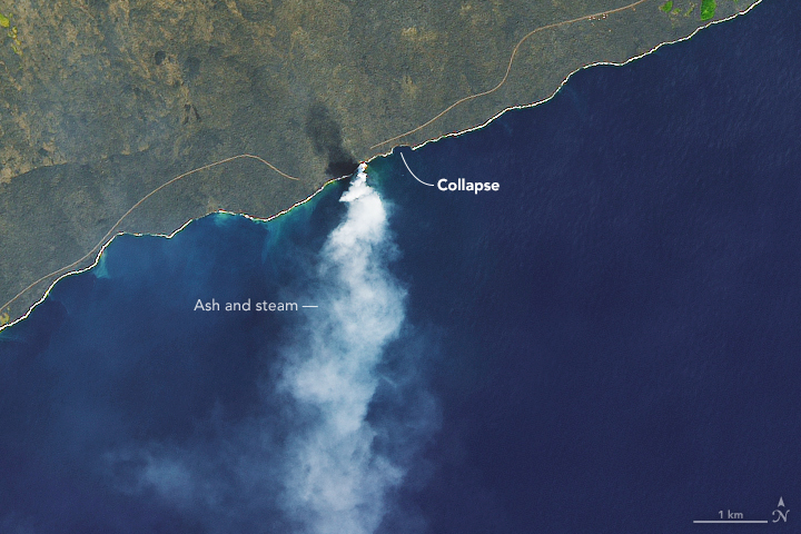 Lava Delta Collapses into Sea