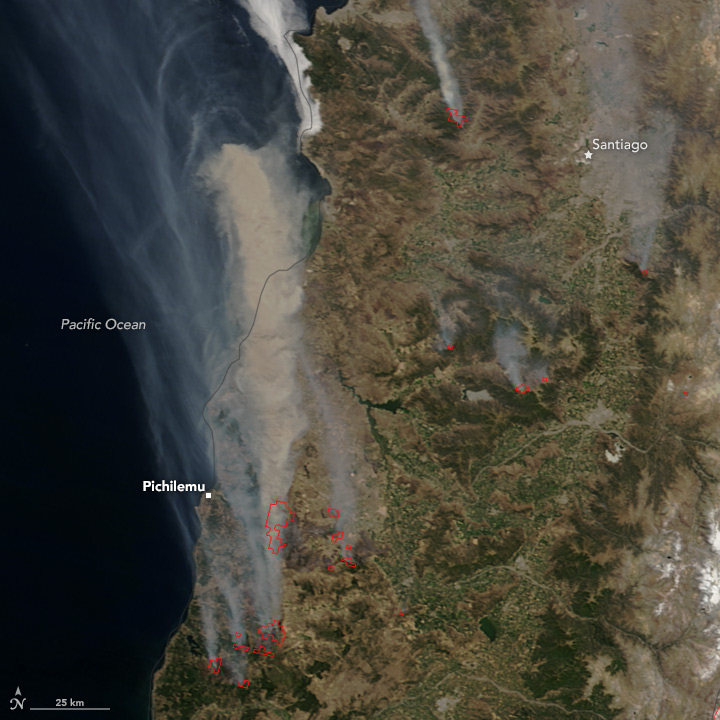 Fires Blaze in Chile