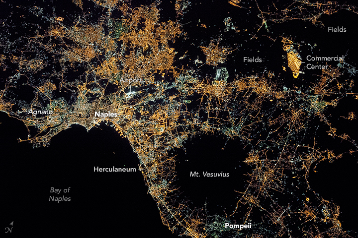 Naples And Mount Vesuvius At Night