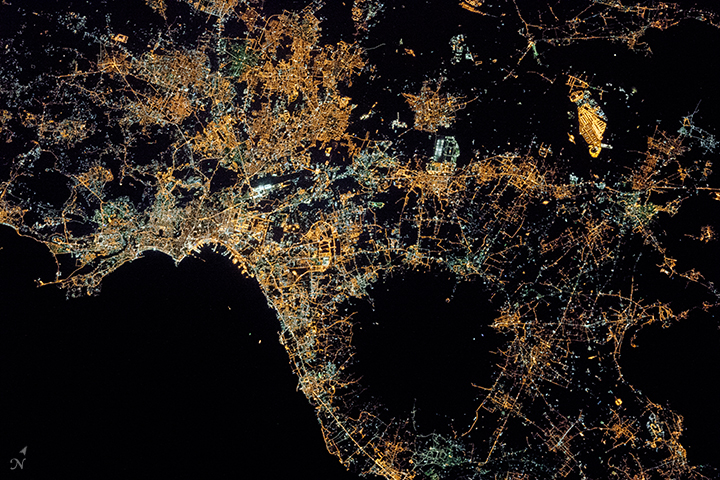 Naples and Mount Vesuvius at Night  - related image preview