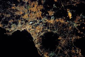 Naples and Mount Vesuvius at Night