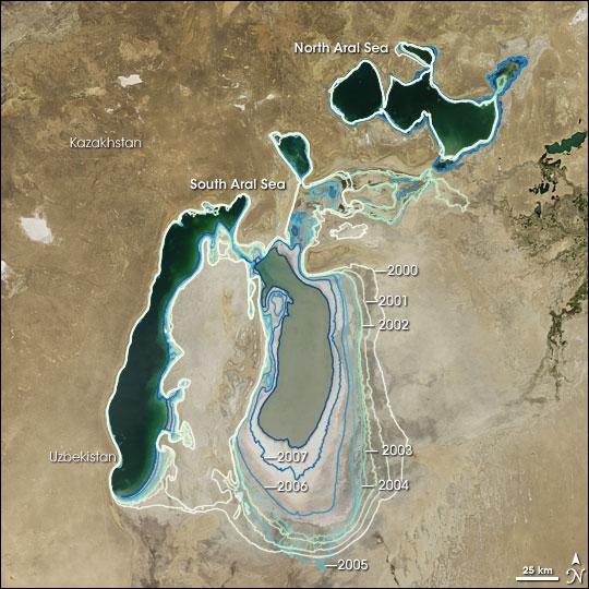 Aral Sea, 2000-2008