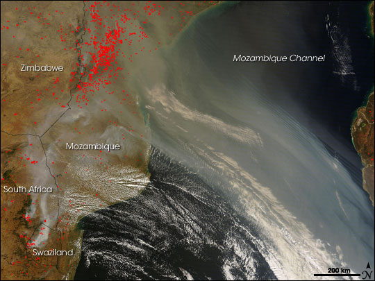 Fires in Mozambique and South Africa