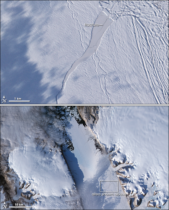 Crack in the Petermann Glacier