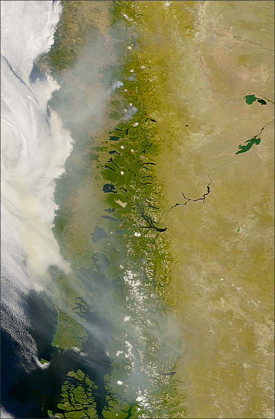 Smoke Over Southern Andes Mountains