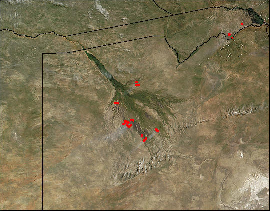 Wildfires in Okavango Delta
