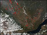 Fires Near Lake Baikal, Russia