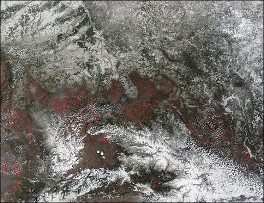 Scores of Wildfires in Russia's Krasnoyarsk Region