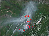 Fires along Lena River near Yakutsk