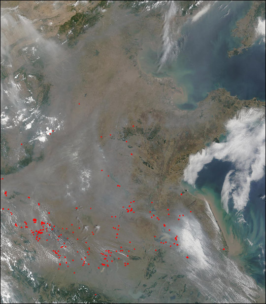 Widespread Smoke, Fires Across Eastern China