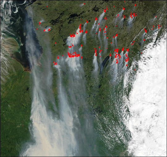 Fires in Quebec, Canada, Send Smoke to U.S.